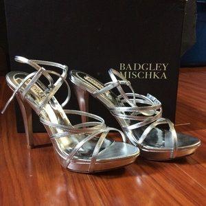badgley mishka silver heels